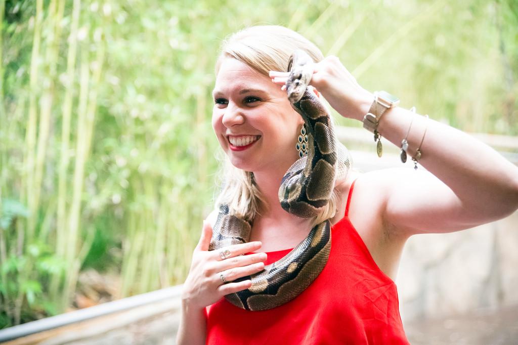 A guest holding a python