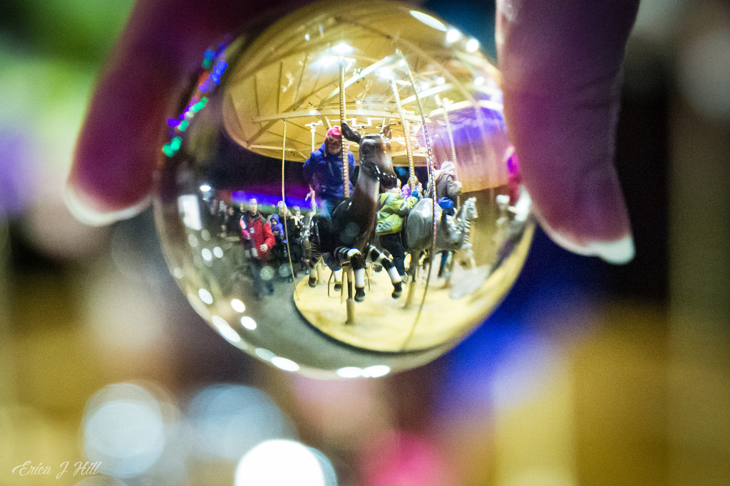 Carousel through glass ball