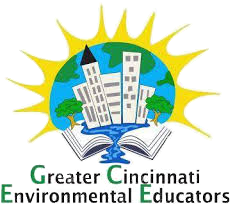 the logo for Creater Cincinnati Environmental Educators, a book, tress and buildings overlaying the Earth and sun rays