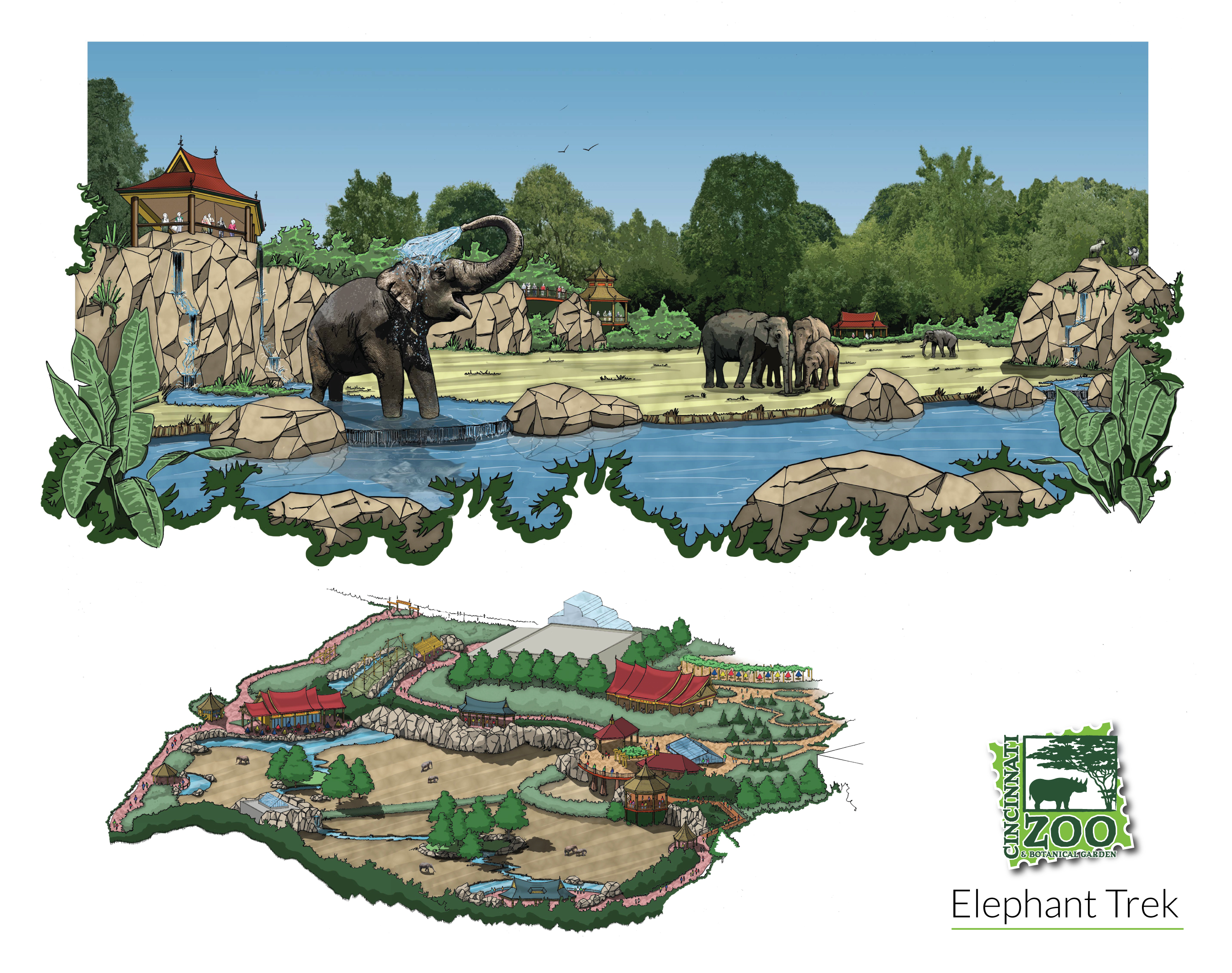 Sketch of all new elephant trek exhibit