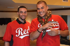 Billy Hamilton and Donald Lutz with a Boa around his neck