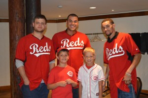 Devin Mesoraco Donald Lutz and Billy Hamilton pose with fans at the Zoo