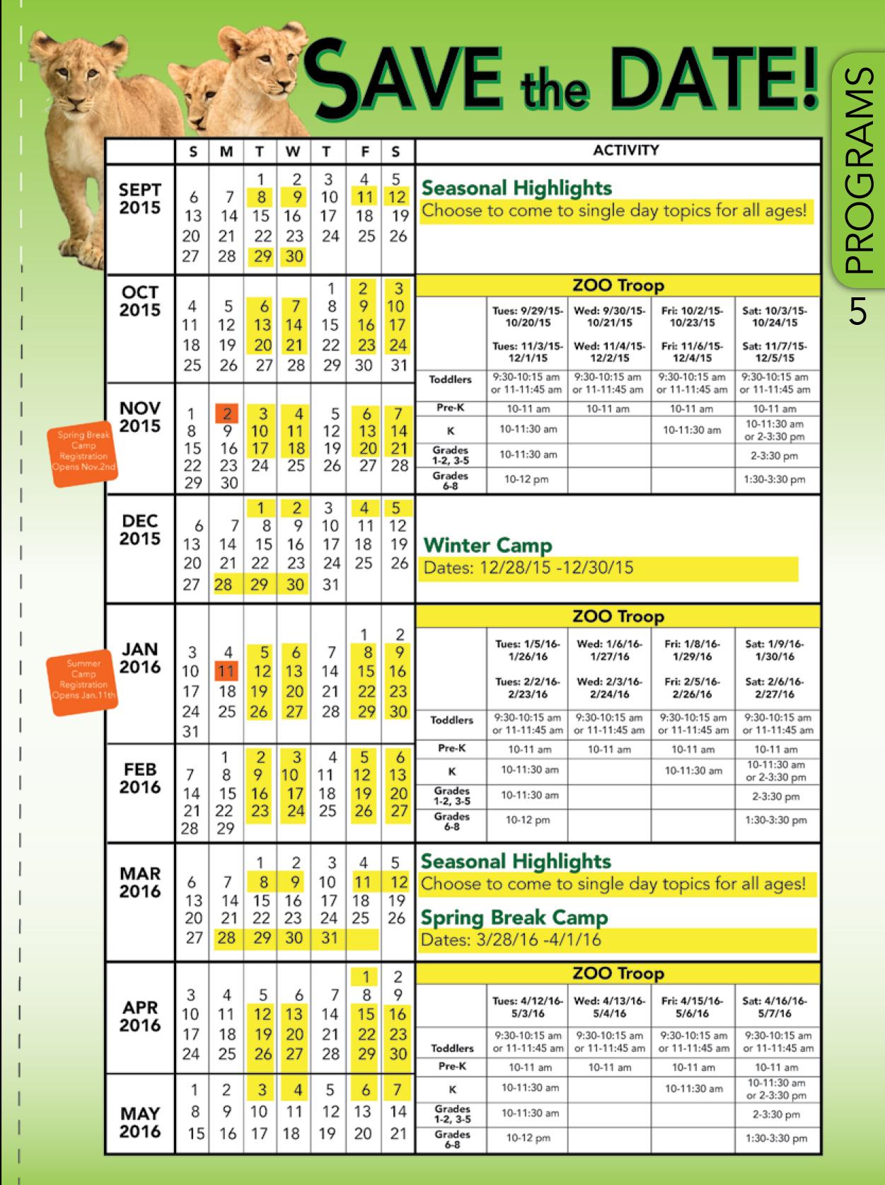 Zoo Calendar : Calendar of events the cincinnati zoo botanical garden