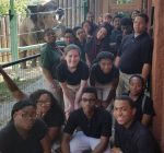 Zoo Academy juniors and male elephant Sabu.