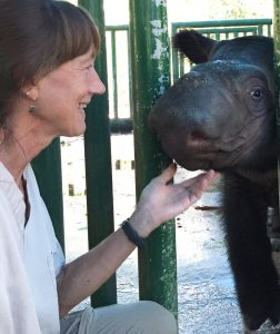 Dr. Terri Roth from Cincinnati Zoo's CREW with six-month-old Delilah, daughter of Andalas.